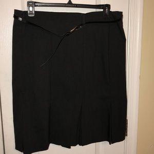 Sag Harbor women stretch fit & flare belted skirt